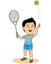 Boy Playing Tennis Clipart